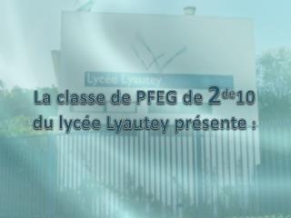 La classe de PFEG de  2 de 10  du lycée Lyautey présente  :