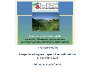 III Focus/ Panel / Ws Integrazione Lingue e Lingue minori nel curricolo 27 novembre 2013