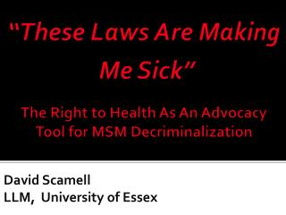 David  Scamell LLM,  University of Essex