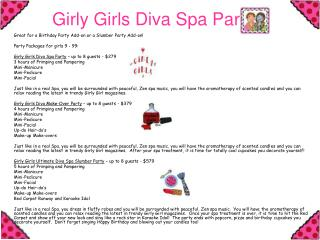 Girly Girls Diva Spa Parties