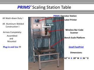 PRIMS�  Scaling Station Table