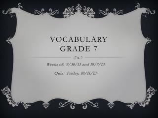 Vocabulary  Grade 7