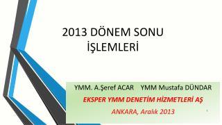 2013 DÖNEM SONU İŞLEMLERİ