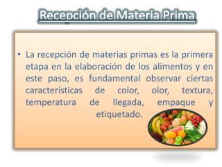 Recepción de Materia Prima