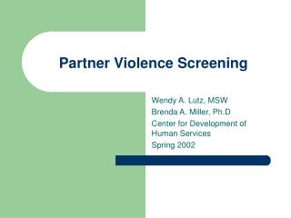 Partner Violence Screening