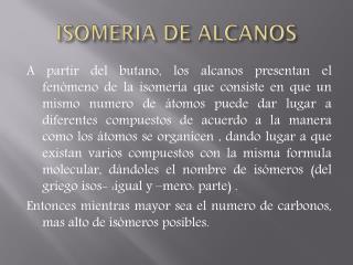ISOMERIA DE ALCANOS