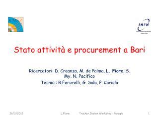 Stato attività e  procurement  a Bari