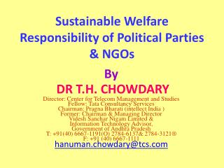 Sustainable Welfare Responsibility of Political Parties & NGOs