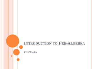 Introduction to Pre-Algebra
