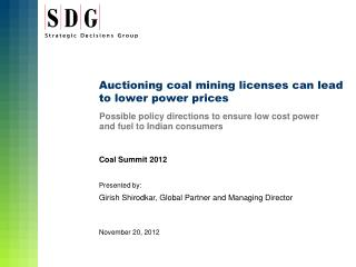 Auctioning coal mining licenses can lead to lower power prices