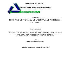 Organizador gráfico de las aportaciones de la Psicología Evolutiva y la Psicología de la Educación