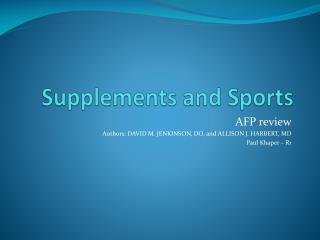 Supplements and Sports