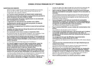 CONSEIL D'ECOLE PRIMAIRE DU 3 ème  TRIMESTRE