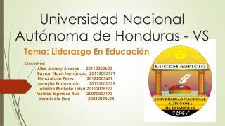 Universidad Nacional Autónoma de Honduras - VS