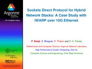Sockets Direct Protocol for Hybrid Network Stacks: A Case Study with iWARP over 10G Ethernet
