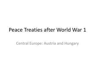 Peace Treaties after World War 1