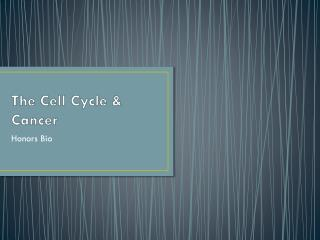 The Cell Cycle & Cancer