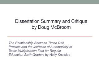 Dissertation Summary and Critique  by Doug McBroom