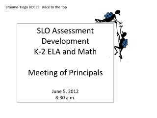 SLO Assessment Development K-2 ELA and Math Meeting of Principals June 5, 2012 8:30 a.m.