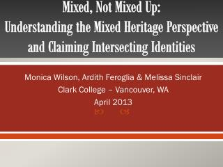 Monica Wilson, Ardith Feroglia & Melissa Sinclair Clark College – Vancouver, WA April 2013