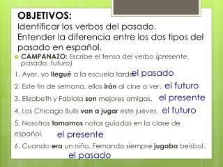 CAMPANAZO:  Escribe el tenso del verbo ( presente, pasado, futuro )