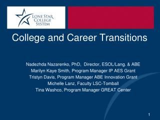 College and Career Transitions  Nadezhda Nazarenko, PhD,  Director,  ESOL/ Lang . & ABE