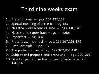 Third nine weeks exam
