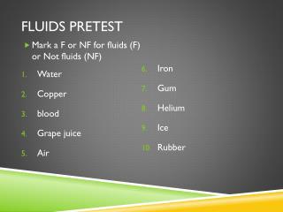 Fluids pretest