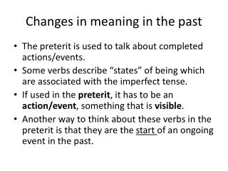 Changes in meaning in the past