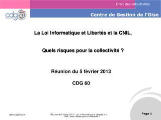 La Loi Informatique et Libertés et la CNIL, Quels risques pour la collectivité ?