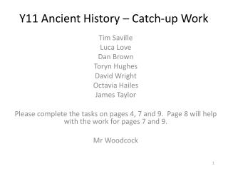 Y11 Ancient History – Catch-up Work