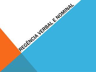 Regência verbal e nominal
