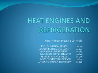HEAT ENGINES AND REFRIGERATION