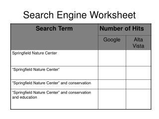 Search Engine Worksheet