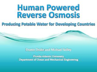 Human Powered Producing Potable Water for Developing Countries