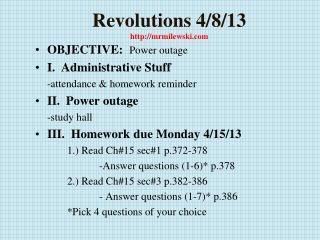 Revolutions 4/8/13 http://mrmilewski.com