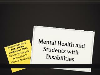 Mental Health and Students with Disabilities