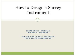 How to Design a Survey Instrument