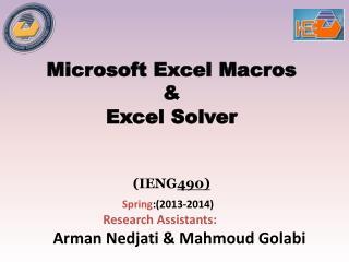 Microsoft Excel Macros & Excel  Solver ( IENG 490 )