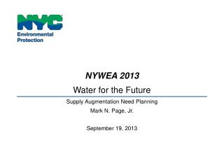 NYWEA 2013 Water for the Future