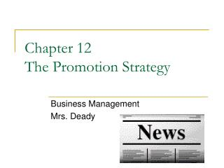 Chapter 12  The Promotion Strategy