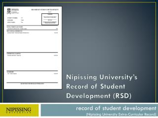 Nipissing University's Record  of Student Development (RSD)