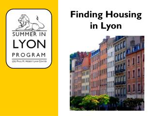 Finding Housing  in Lyon