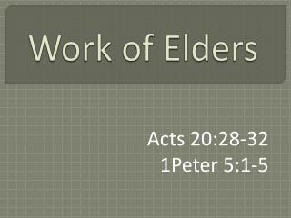 Work of Elders