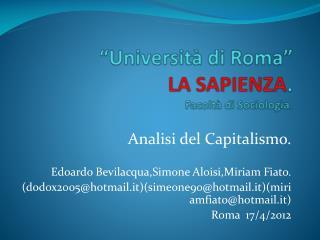 """""""Università di Roma"""" LA SAPIENZA . Facoltà di Sociologia."""