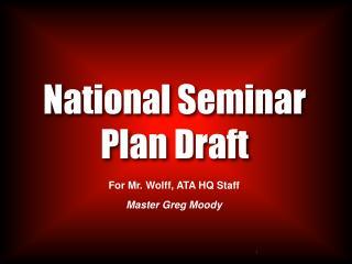 National Seminar Plan Draft