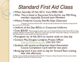 Standard First Aid Class