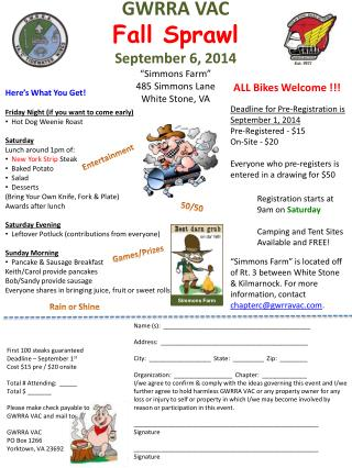 "GWRRA VAC Fall Sprawl September 6, 2014 ""Simmons Farm"" 485 Simmons Lane White Stone, VA"