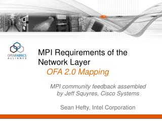 MPI Requirements of the Network Layer OFA 2.0 Mapping