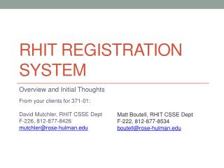 RHIT  Registration System